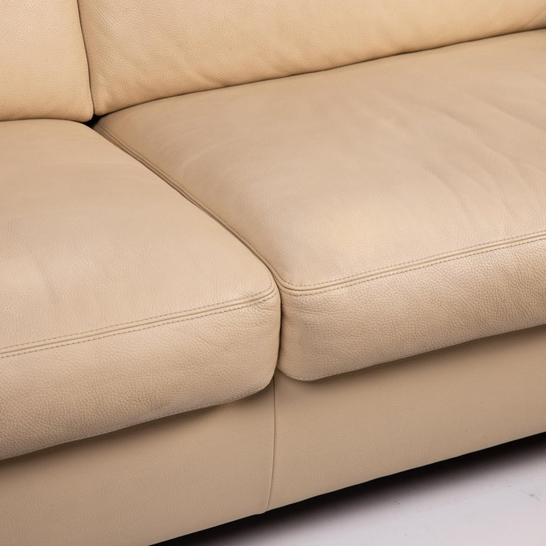 Modern Machalke Leather Sofa Beige Three-Seat Couch For Sale
