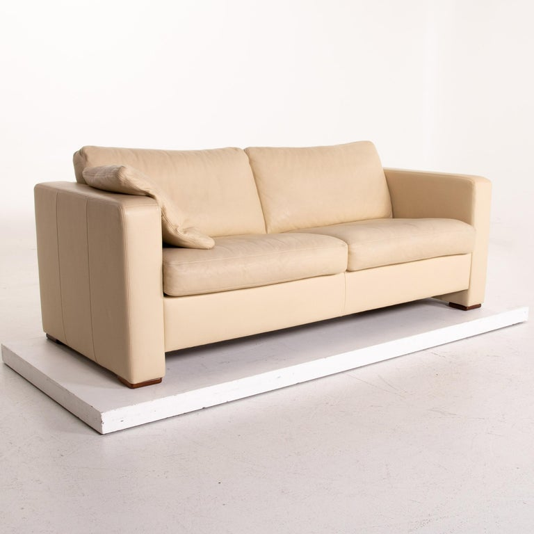 Contemporary Machalke Leather Sofa Beige Three-Seat Couch For Sale