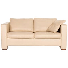 Machalke Leather Sofa Beige Two-Seat Couch