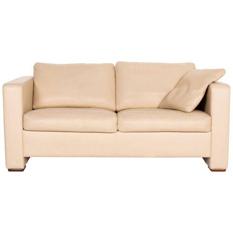 Machalke Leather Sofa Beige Two-Seat Couch For Sale