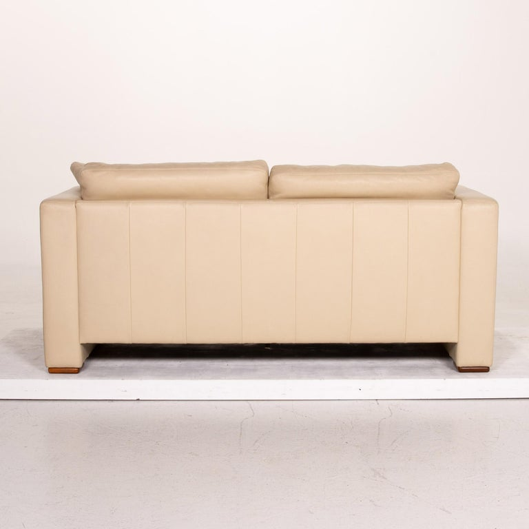 Machalke Leather Sofa Beige Two-Seat Couch For Sale 4