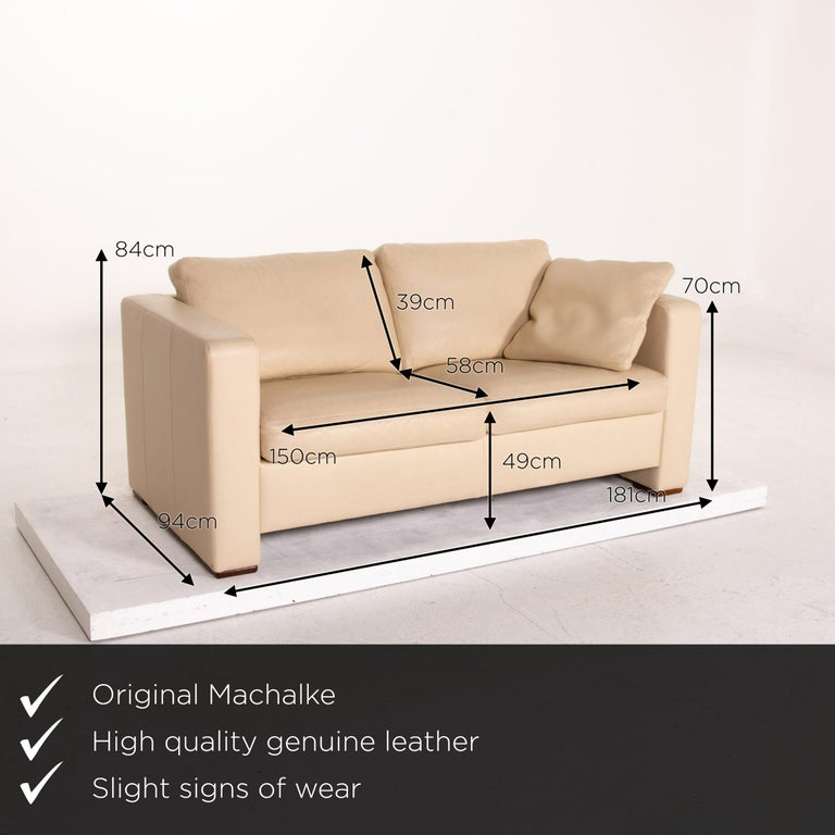 We present to you a Machalke leather sofa beige two-seat couch.     Product measurements in centimeters:    Depth 94 Width 181 Height 84 Seat height 49 Rest height 70 Seat depth 58 Seat width 150 Back height 39.