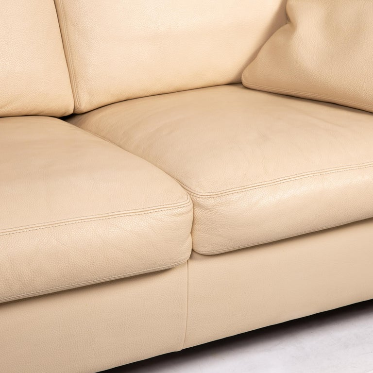 Modern Machalke Leather Sofa Beige Two-Seat Couch For Sale