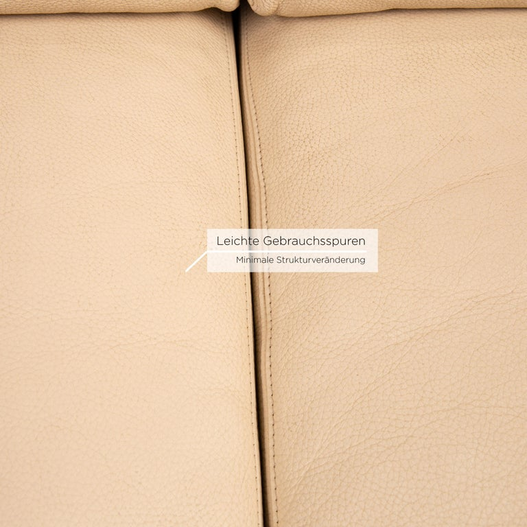 Machalke Leather Sofa Beige Two-Seat Couch In Good Condition For Sale In Cologne, DE