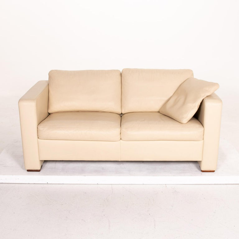 Machalke Leather Sofa Beige Two-Seat Couch For Sale 2