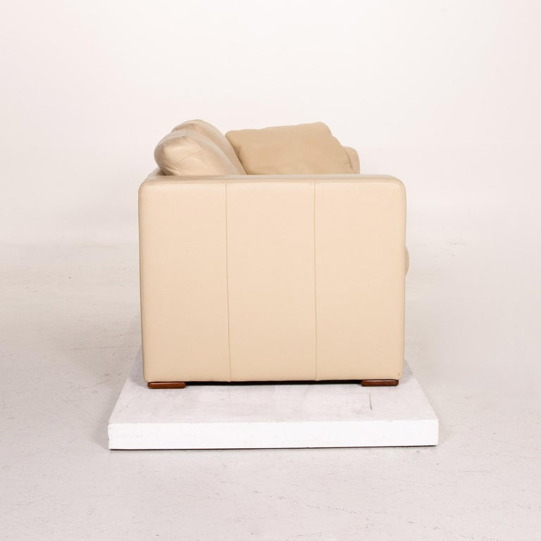 Machalke Leather Sofa Beige Two-Seat Couch For Sale 3