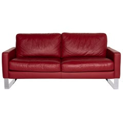 Machalke Leather Sofa Red Two-Seat Couch # 13906t