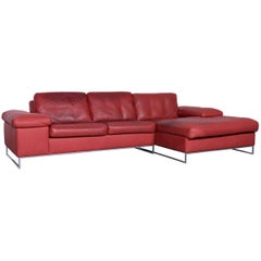 Machalke Monte Christo Designer Leather Sofa Red Corner Sofa Couch