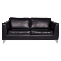 Machalke Pablo Leather Sofa Black Two-Seat Couch