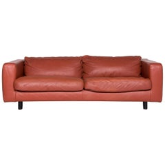 Machalke Valentino Designer Leather Sofa Brown Rust Brown Two-Seat Couch