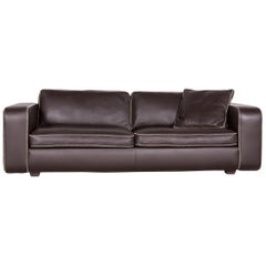 Machalke Valentino Designer Leather Sofa Brown Three-Seat Couch