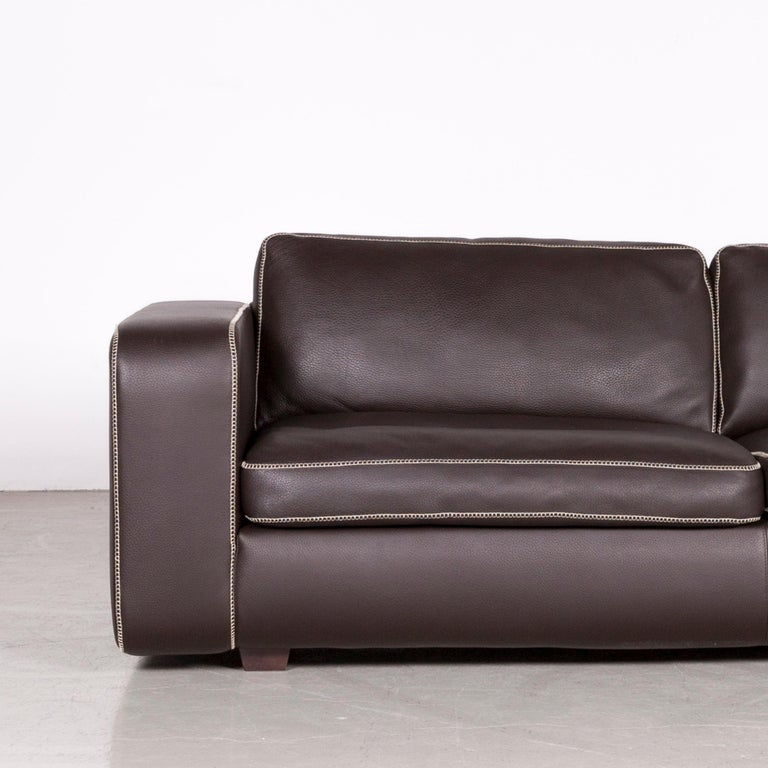 Prime Machalke Valentino Designer Leather Sofa Footstool Set Brown Gmtry Best Dining Table And Chair Ideas Images Gmtryco