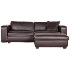 Machalke Valentino Designer Leather Sofa Footstool Set Brown Three-Seat Couch