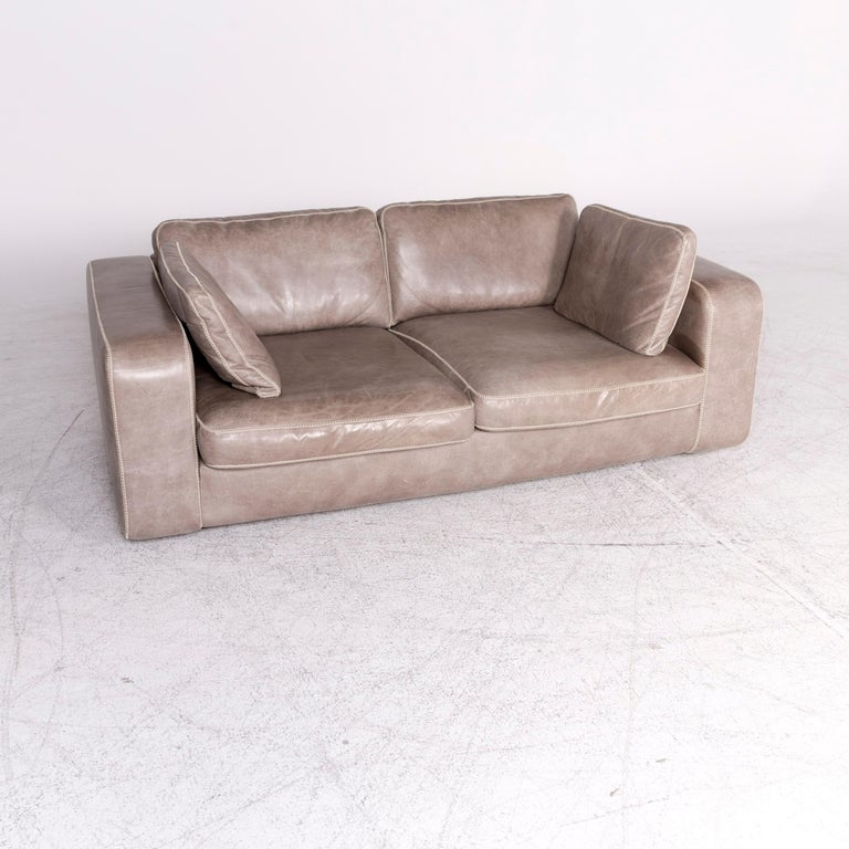 Design Bank Machalke.Machalke Valentino Designer Leather Sofa Gray Real Leather Two Seat Couch