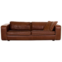 Machalke Valentino Leather Sofa Brown Three-Seat Couch