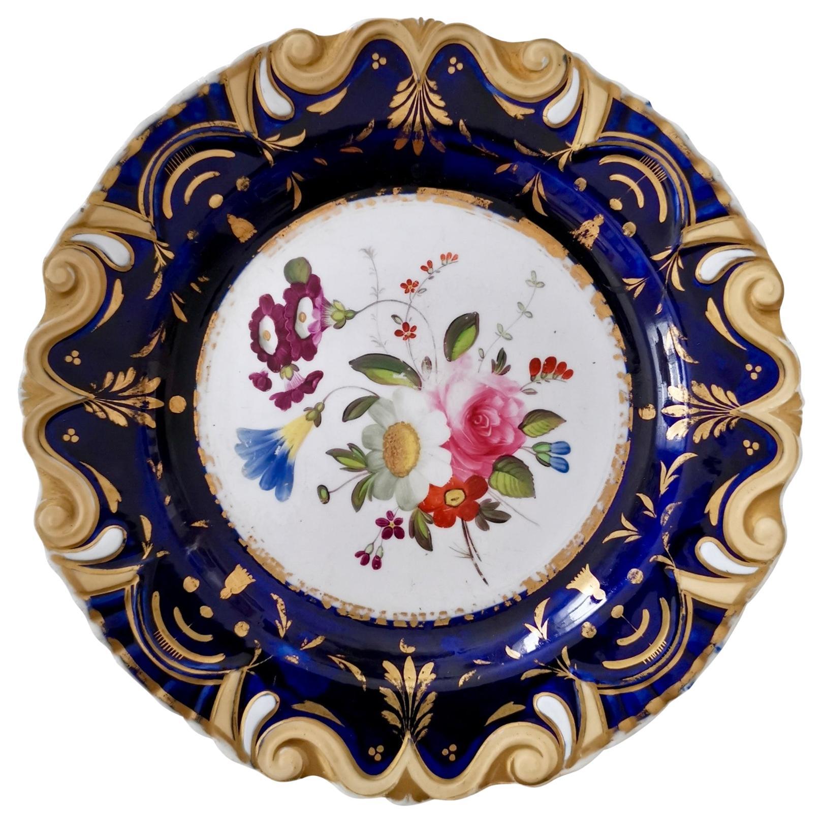 Machin Moustache Plate, Flowers on Cobalt Blue, Regency, circa 1825