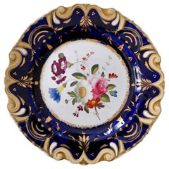 Machin Moustache Plate, Flowers on Cobalt Blue, Regency, circa 1825