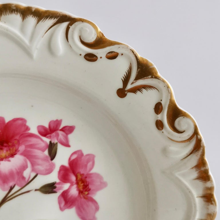 Early 19th Century Machin Porcelain Plate, White, Moustache Shape with Pink Flower, Regency