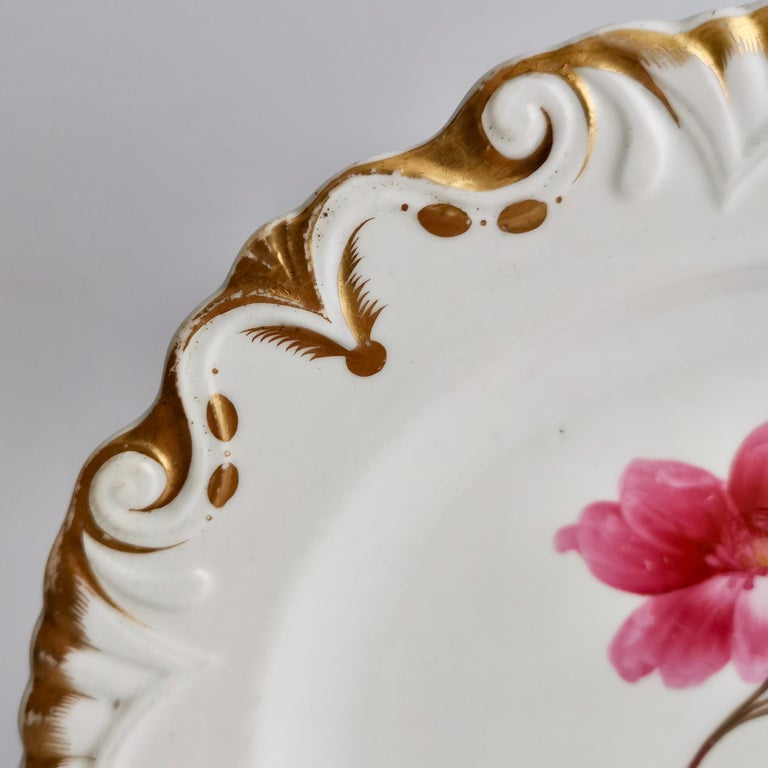 Machin Porcelain Plate, White, Moustache Shape with Pink Flower, Regency 1