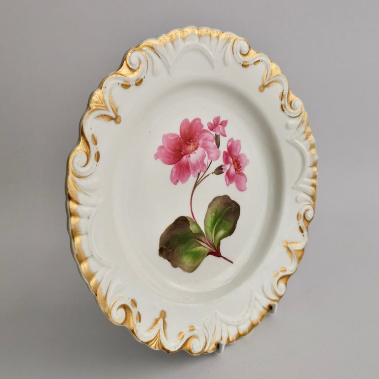 Machin Porcelain Plate, White, Moustache Shape with Pink Flower, Regency 3