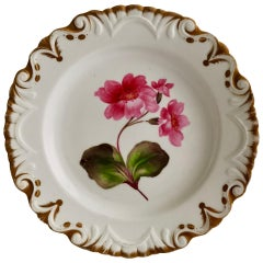 Machin Porcelain Plate, White, Moustache Shape with Pink Flower, Regency