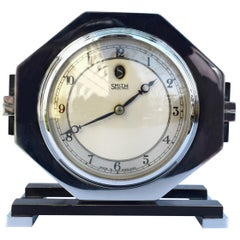 Machine Age 1930s Art Deco Chrome Clock by Smiths, England