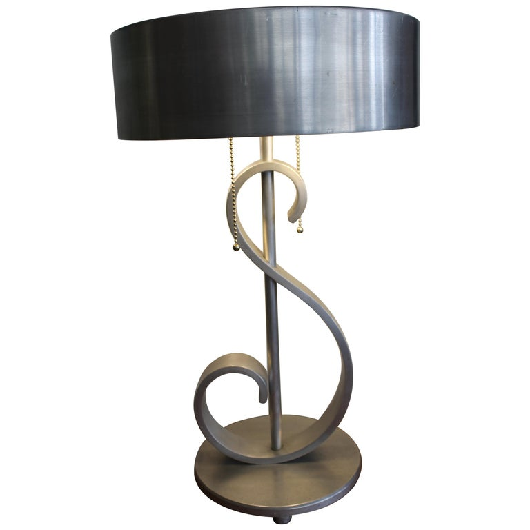 Machine Age Aluminum Musical Note Table Lamp For Sale