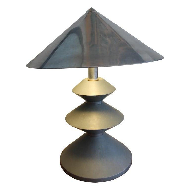 Machine Age Aluminum Table Lamp For Sale