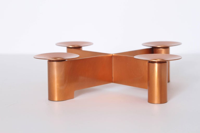 Machine Age Art Deco Albert Reimann candlepiece for Chase in satin copper, 1933