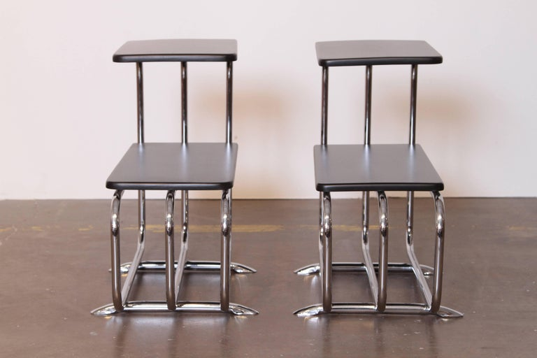 Machine Age Art Deco Alfons Bach Lloyd chromium furniture end tables, Lloyd's.  PRICE REDUCED  Featured profusely throughout many early Lloyd chromium furniture catalogs, along with several identified KEM Weber group designs and additional Bach
