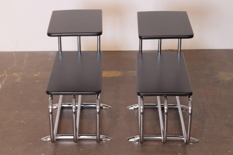 American Machine Age Art Deco Alfons Bach Lloyd Chromium Furniture End Tables, Lloyd's For Sale