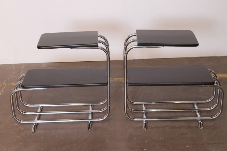 Lacquered Machine Age Art Deco Alfons Bach Lloyd Chromium Furniture End Tables, Lloyd's For Sale