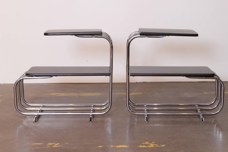 Machine Age Art Deco Alfons Bach Lloyd Chromium Furniture End Tables, Lloyd's In Good Condition For Sale In Dallas, TX