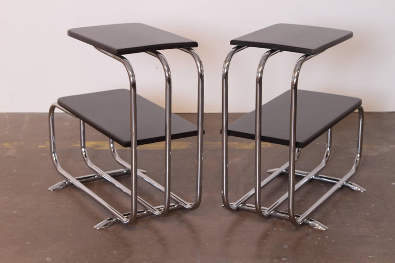 Mid-20th Century Machine Age Art Deco Alfons Bach Lloyd Chromium Furniture End Tables, Lloyd's For Sale