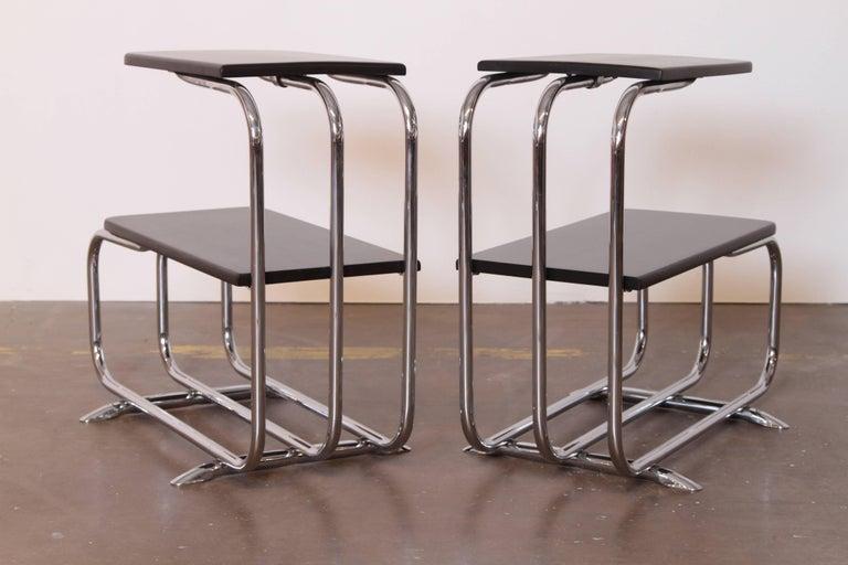 Chrome Machine Age Art Deco Alfons Bach Lloyd Chromium Furniture End Tables, Lloyd's For Sale