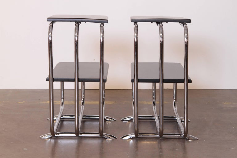 Machine Age Art Deco Alfons Bach Lloyd Chromium Furniture End Tables, Lloyd's For Sale 1