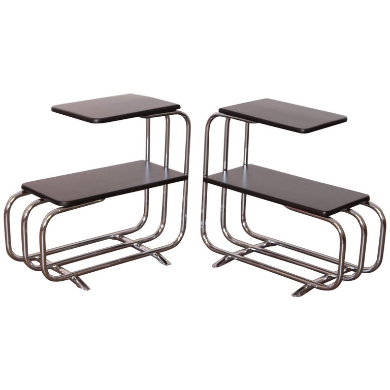 Machine Age Art Deco Alfons Bach Lloyd Chromium Furniture End Tables, Lloyd's For Sale