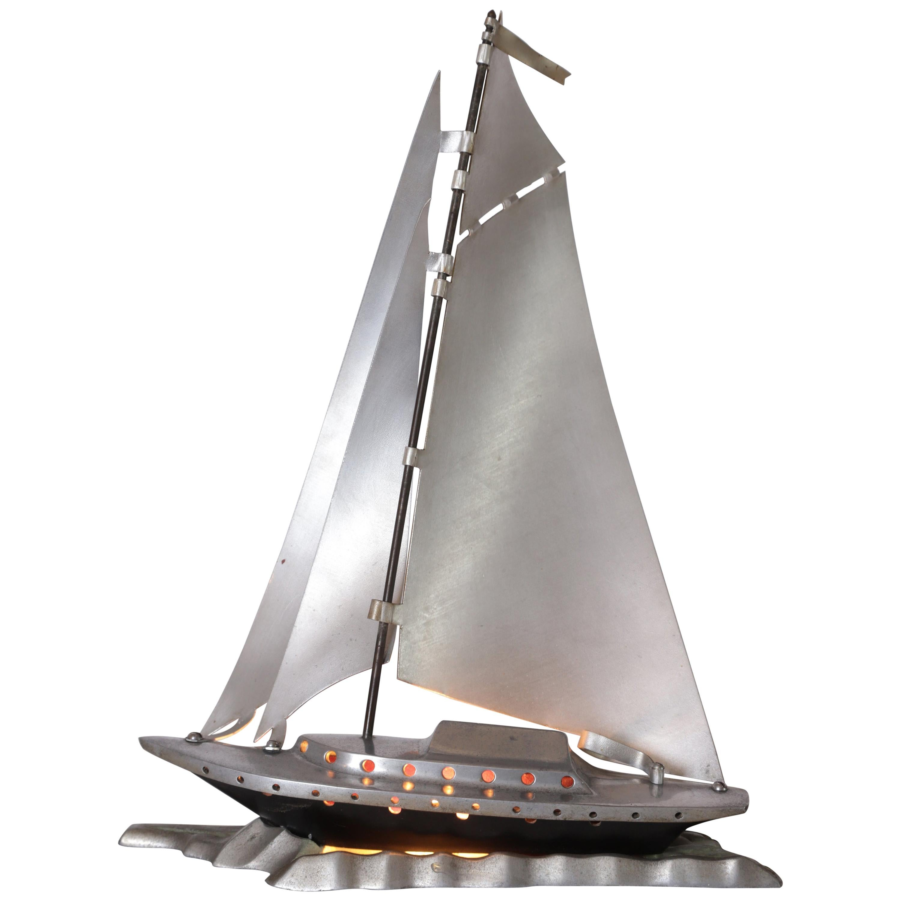 Machine Age Art Deco Aluminum Sailboat / Yacht Night Light / Mood Lamp