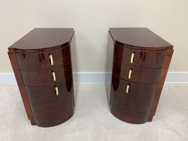 Polished Machine Age Art Deco Burl and Brass Night Tables, circa 1930s For Sale