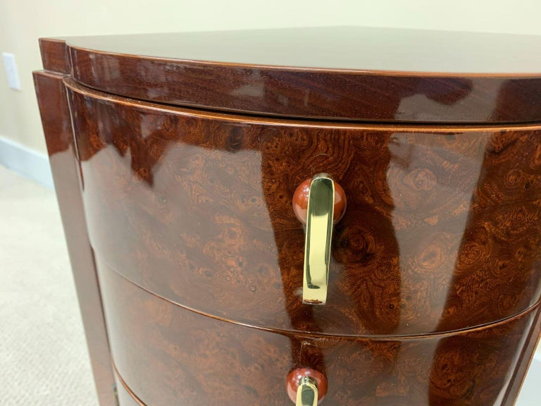20th Century Machine Age Art Deco Burl and Brass Night Tables, circa 1930s For Sale