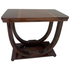 Machine Age Art Deco Burl Walnut and Zebrawood Inlaid End Table, circa 1930