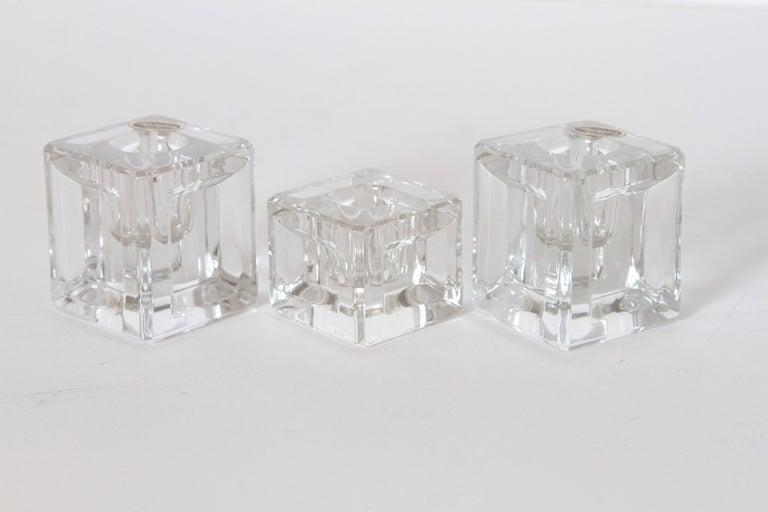 Mid-20th Century Machine Age Art Deco Cambridge Pristine Table Architecture Cubist Candlesticks For Sale