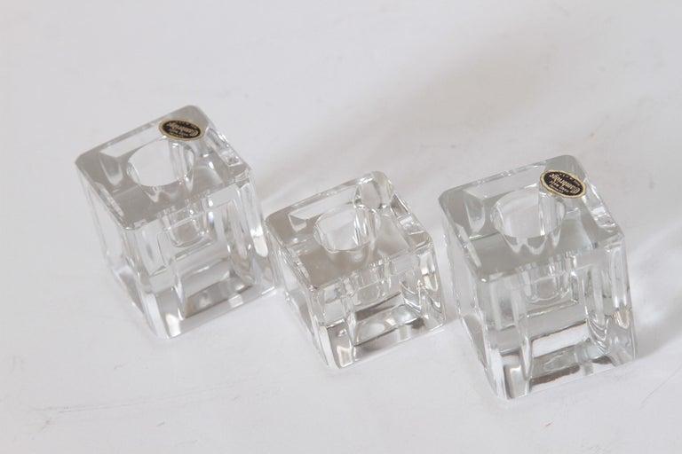 Glass Machine Age Art Deco Cambridge Pristine Table Architecture Cubist Candlesticks For Sale