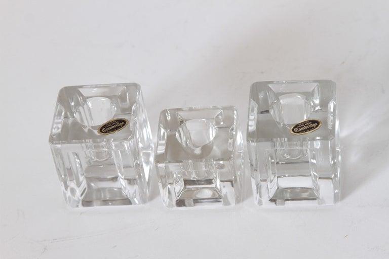 Machine Age Art Deco Cambridge Pristine Table Architecture Cubist Candlesticks For Sale 1