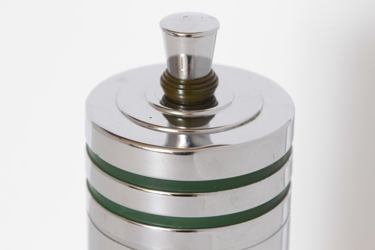 American Machine Age Art Deco Chase Gaiety Cocktail Shaker in Rare Green Catalin For Sale