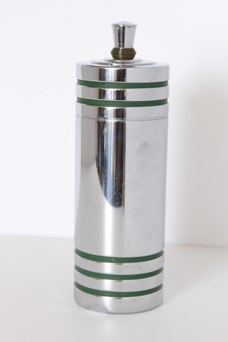 Chrome Machine Age Art Deco Chase Gaiety Cocktail Shaker in Rare Green Catalin For Sale
