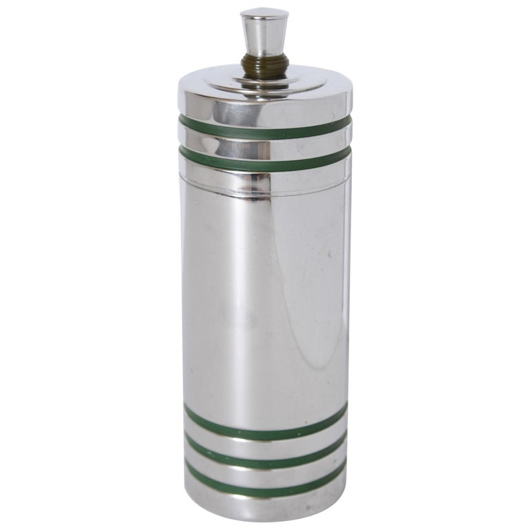 Machine Age Art Deco Chase Gaiety Cocktail Shaker in Rare Green Catalin For Sale