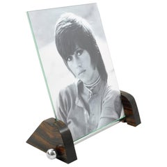 Machine Age Art Deco Chrome and Macassar Wood Picture Frame