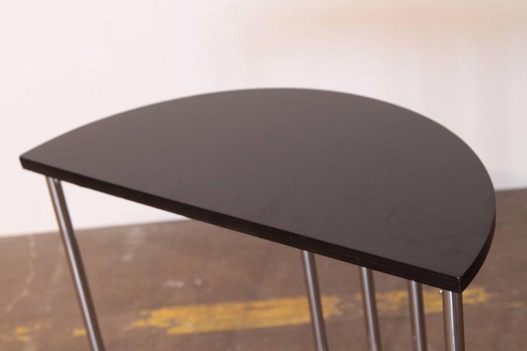Machine Age Art Deco Demilune Console Table, Royalchrome Royal Metal For Sale 3