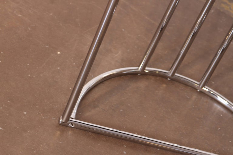 Machine Age Art Deco Demilune Console Table, Royalchrome Royal Metal For Sale 4